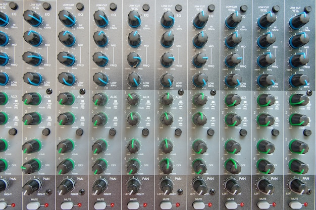 Audio sound mixer control panel top view.