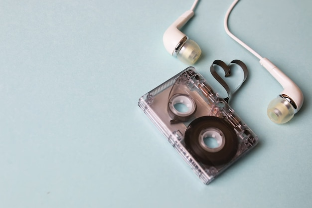 Audio tape on a blue background