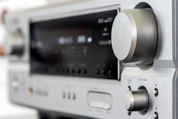 Audiophile hifi amplifier with volume control knob.