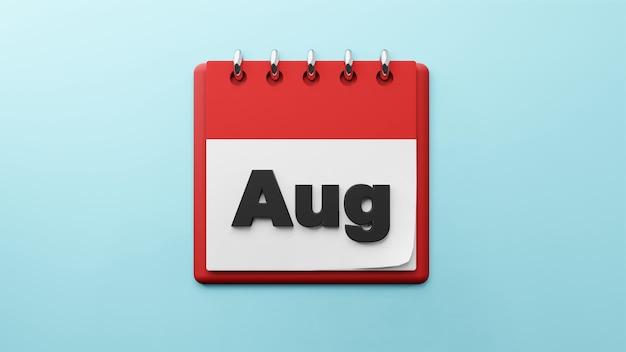 紙の卓上カレンダーの8月3dレンダリング