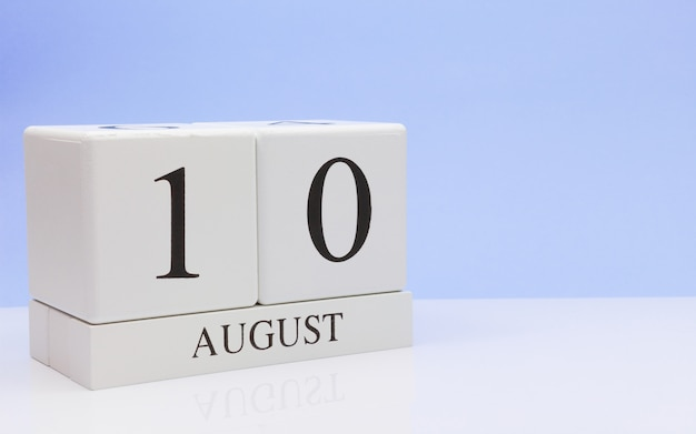 August 10st. day 10 of month, daily calendar on white table