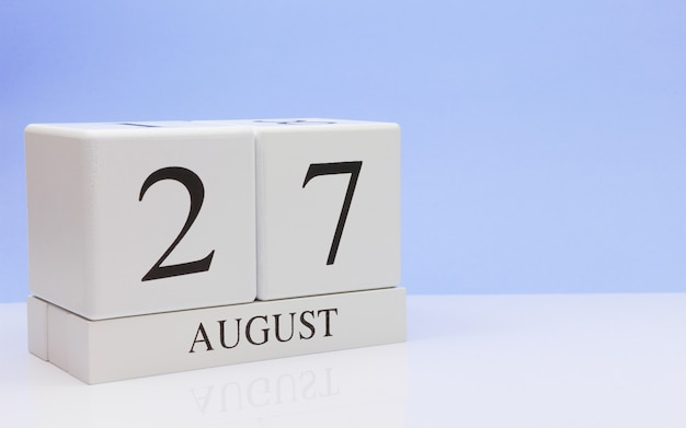 August 27st. day 27 of month, daily calendar on white table