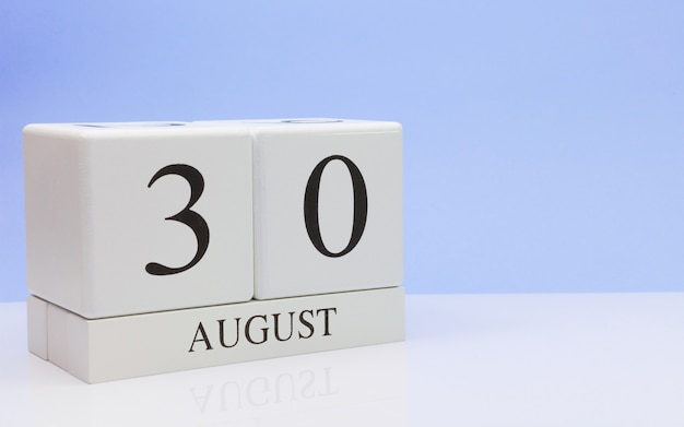 August 30st. day 30 of month, daily calendar on white table