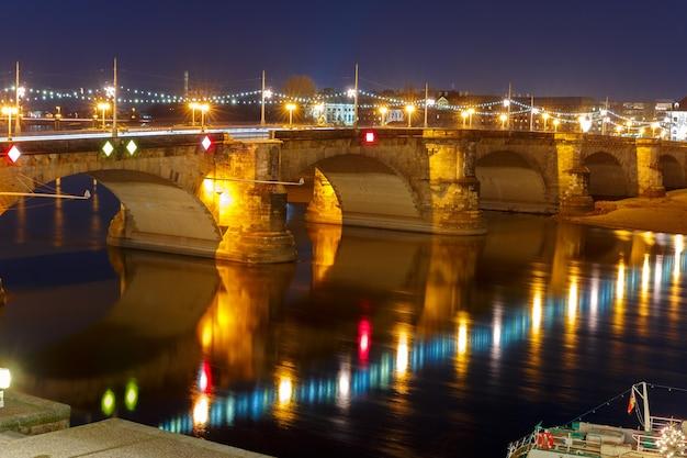 Augustus bridge, elba at night, dresden, germany