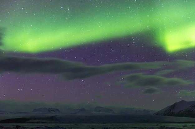 Aurora borealis glacier iceland