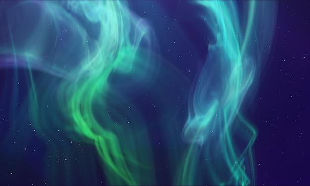 オーロラ緑色の極光発光ぼやけた流体の背景オーロラの概念