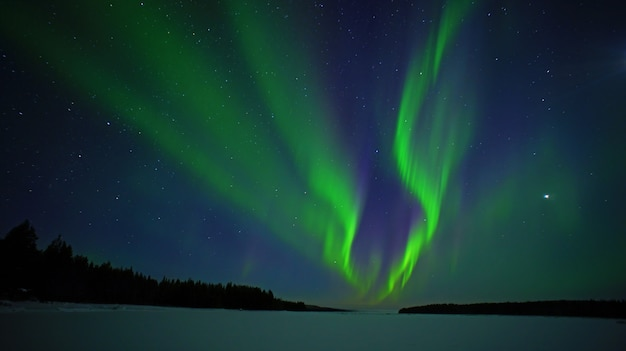 オーロラ。オーロラ夜の写真北極圏