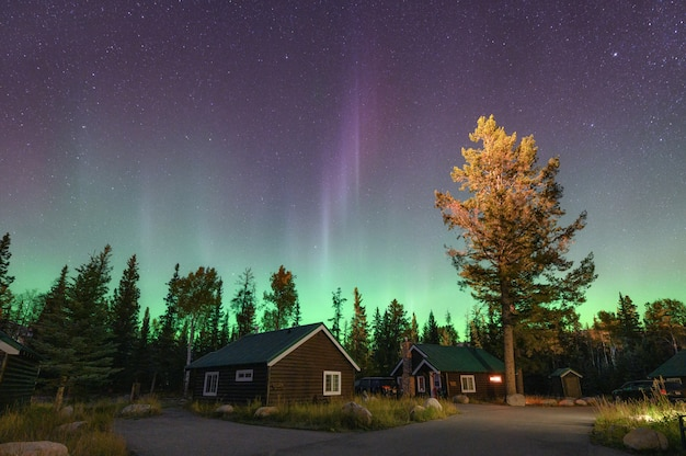 Aurora borealis, northern lights over wooden cottage in national park at jasper