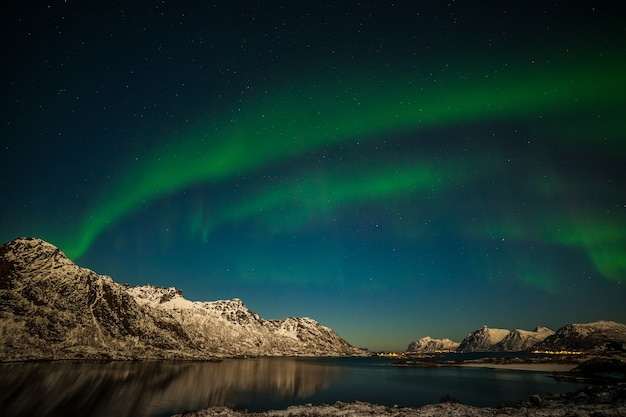 ノルウェーのロフォーテン諸島のオーロラ。山の上の緑のオーロラ