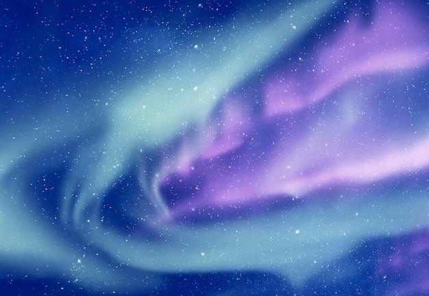 오로라 보 리 얼리스 또는 오로라와 배경으로 별과 하늘