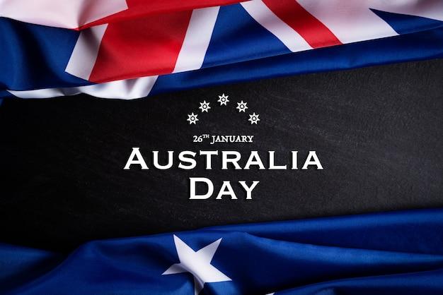 Australia day concept. australian flag against a blackboard background