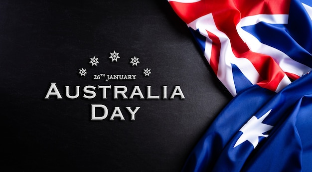 Australia day concept. australian flag against a blackboard background.