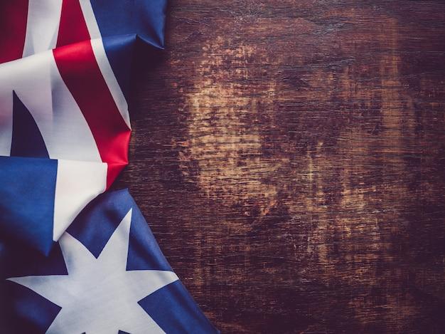 Australia flag. beautiful, bright card. top view
