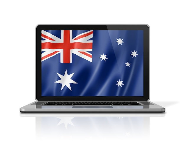 Australia flag on laptop screen isolated on white. 3d illustration render.