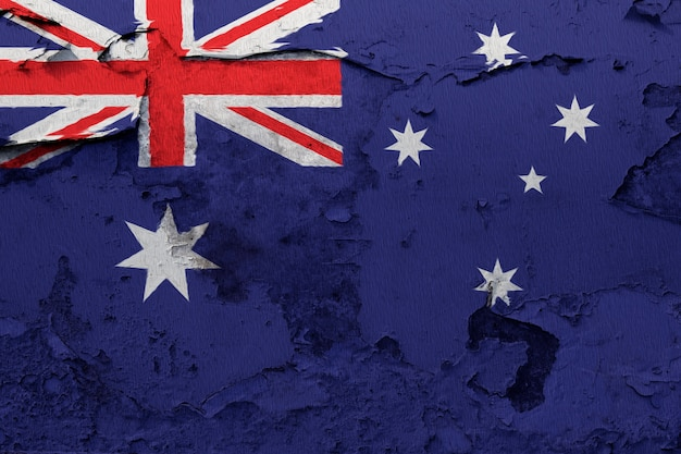 Australia flag painted on grunge cracked wall