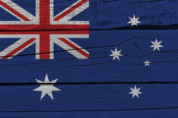 Australia flag painted on old wood plank