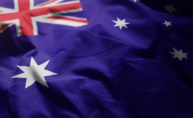 Australia flag rumpled close up