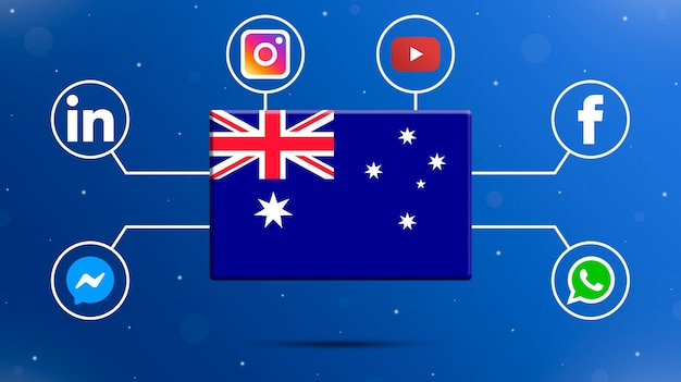 Australia flag with social media logos 3d