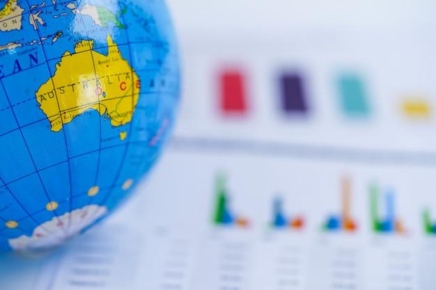 Australia globe world map on chart graph