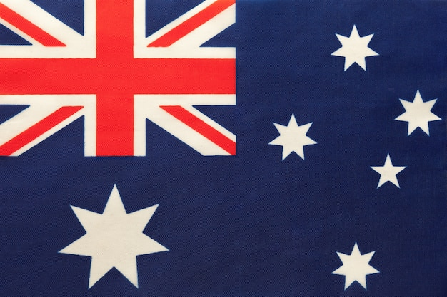 Australia national fabric flag, textile background. symbol of international world country.