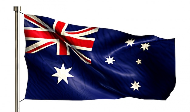 Australia national flag isolated 3d white background