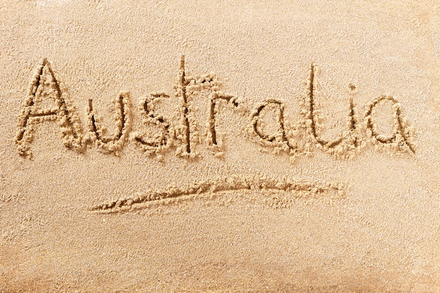 Australia summer beach writing message