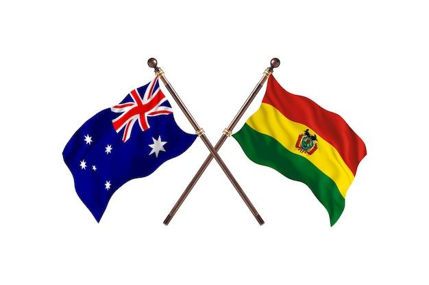 Australia versus bolivia flags background
