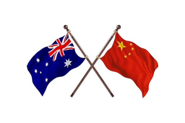 호주 대 중국 국기 배경