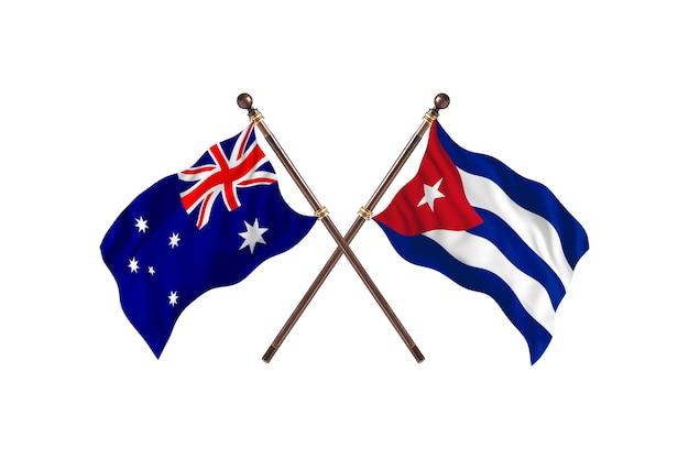 Australia versus cuba flags background