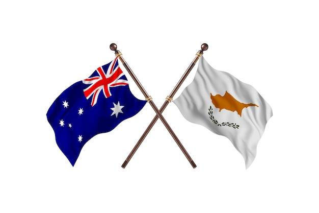 Australia versus cyprus flags background