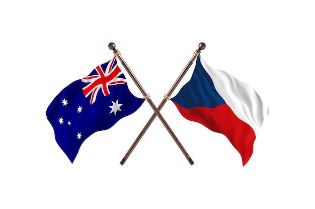 Australia versus czech republic flags background