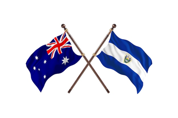 Australia versus el salvador flags background