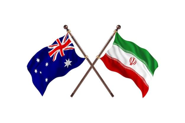 호주 대 이란 깃발 배경