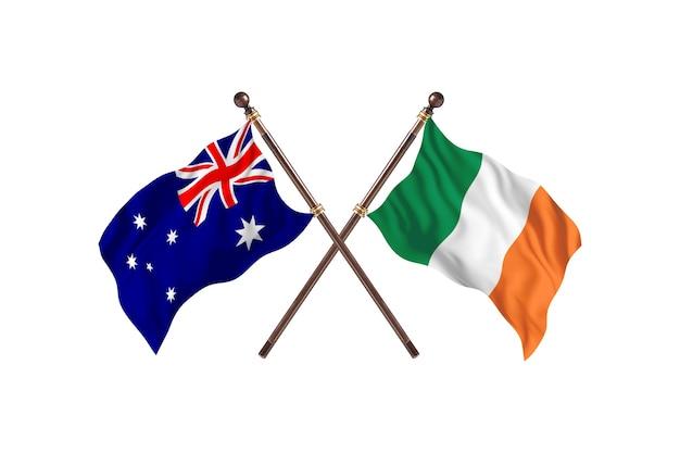 Australia versus ireland flags background