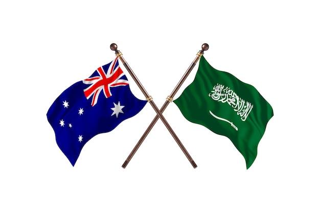 Австралия против фона флагов саудовской аравии
