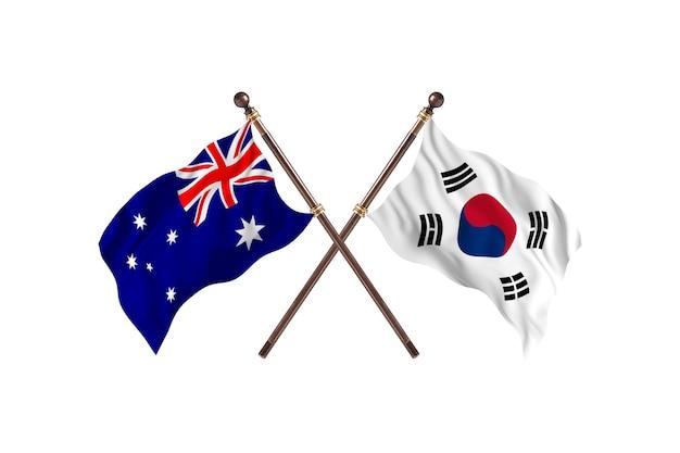 Australia versus south korea flags background