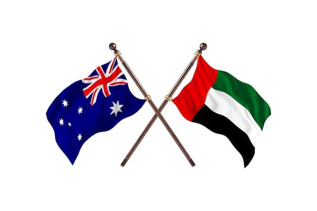 Australia versus united arab emirates flags background