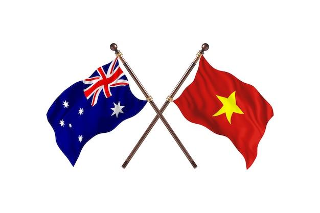 Australia versus vietnam flags background