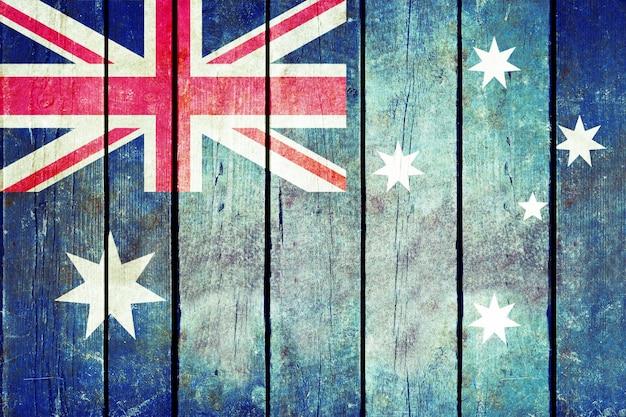 Австралия деревянный флаг гранж.