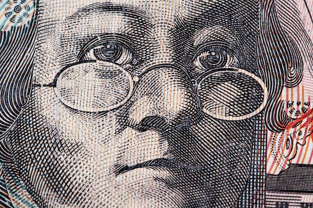 Australian 20 dollar bill closeup