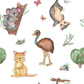 Акварельный рисунок австралийских животных