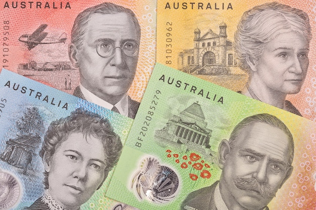 Australian money a background with new series of banknotes