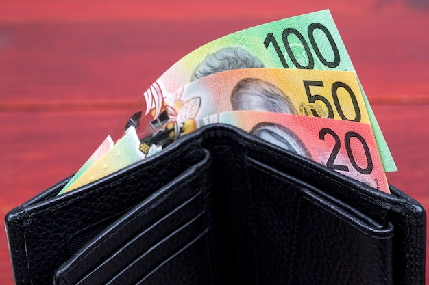 Australian money in the black wallet
