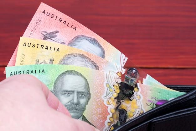 Australian money in the black wallet
