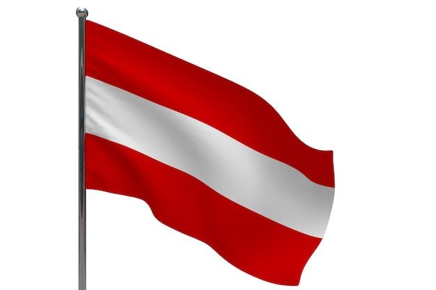 Флаг австрии на шесте. металлический флагшток. национальный флаг австрии 3d иллюстрации на белом