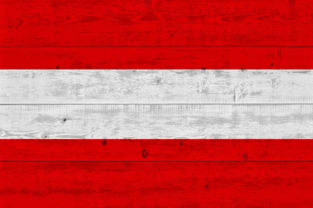 Austria flag painted on old wood plank