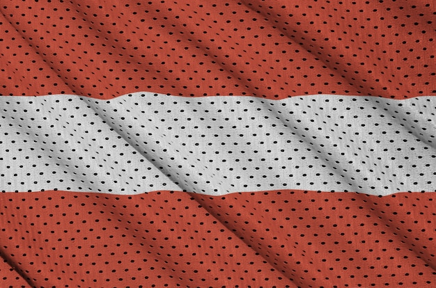 Austria flag printed on a polyester nylon sportswear mesh fabric