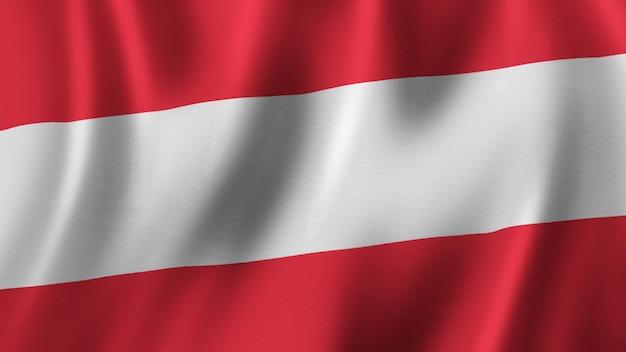 패브릭 질감으로 고품질 이미지로 근접 촬영 3d 렌더링을 흔들며 오스트리아 국기