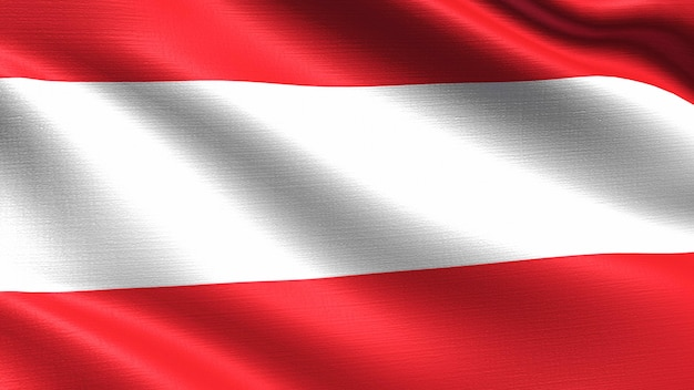 Austria flag, with waving fabric texture