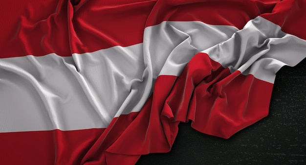Austria flag wrinkled on dark background 3d render